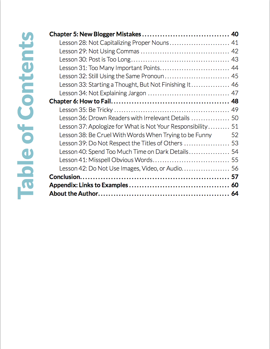 Table of Contents Part2 Blog to Your Talent