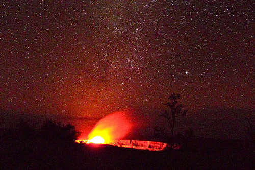Stars, and the glow over the Halemaumau crater...